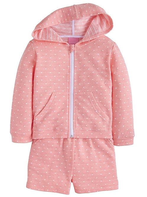 Pink Polka Dot Hoodie Short Set
