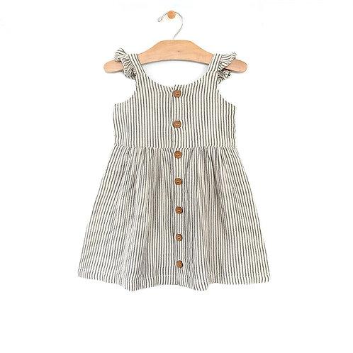 Charcoal Stripe Woven Cross Back Dress