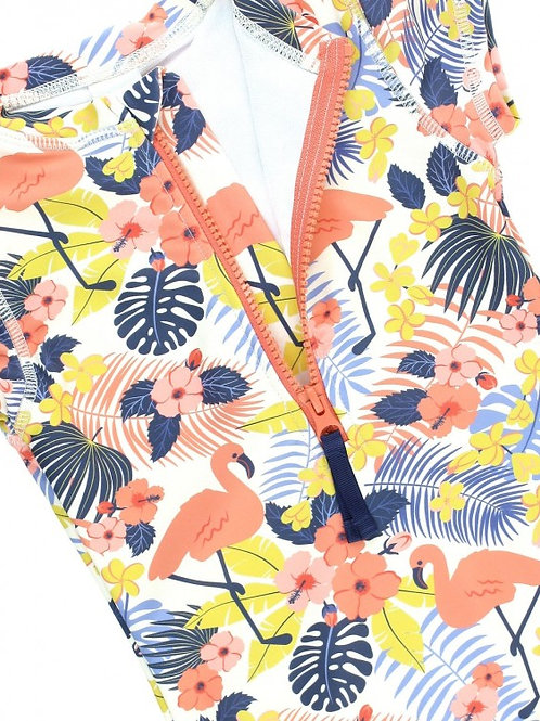 Girls Tropical Flamingo Short Sleeve One Piece Rash Guard