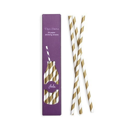Gold Crush Paper Straws