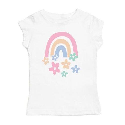 Rainbow Flowers S/S Shirt - White