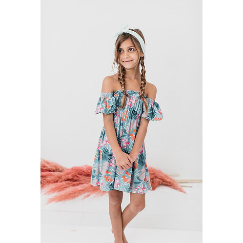 Totally Tropical Off the Shoulder Dress