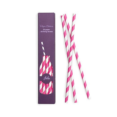 Poppin Pink Paper Straw