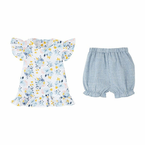 Blue Floral Shirt Set