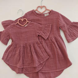 Sunset Rose Muslin Bell Sleeve Dress