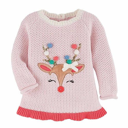 Pink Pom Pom Reindeer Sweater