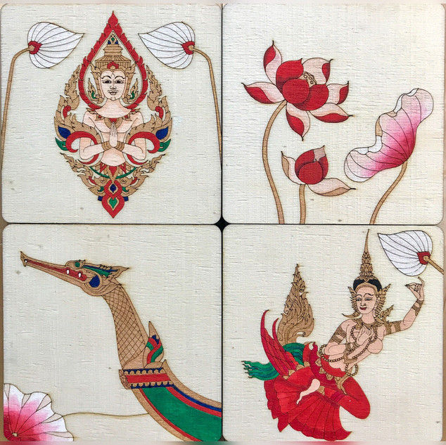 Thai themed coasters.JPG