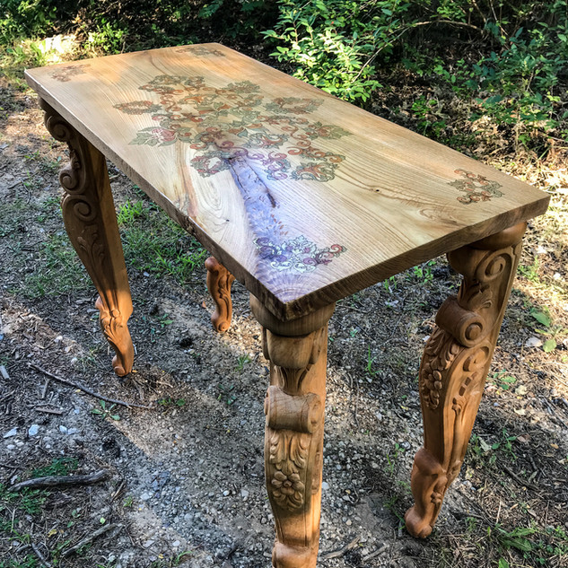 Custom made Chestnut wood console