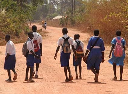 African children walking to school
