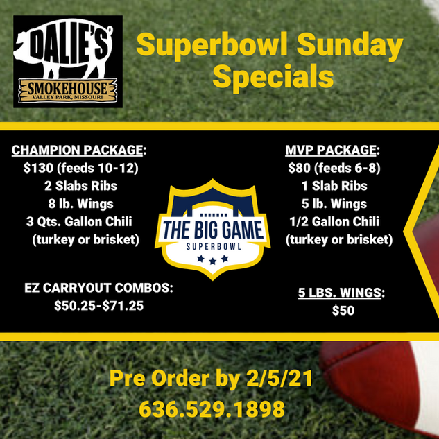 Superbowl Sunday Specials