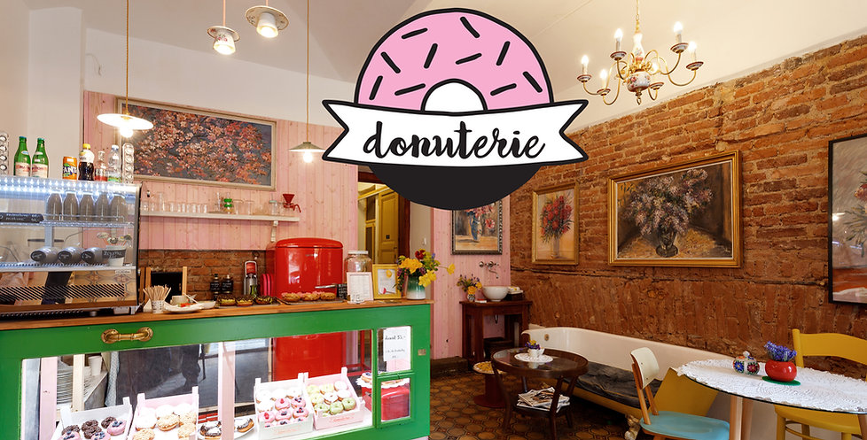 Donuterie, cosy upcycle vintige interior Prague