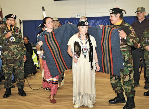 LCO AmVets Honor Vet of the Year Kathy O'Cull at Veteran's Day Powwow