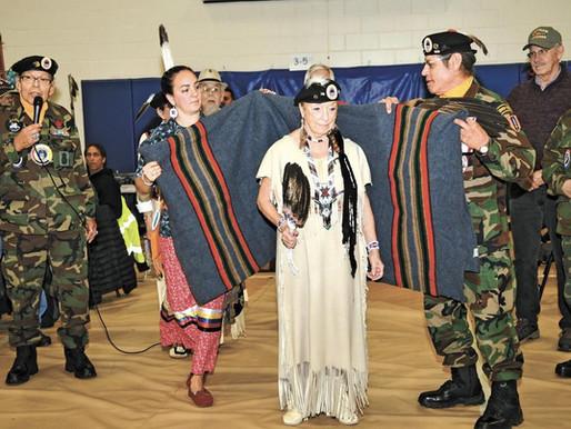 LCO AmVets Honor Vet of the Year Kathy O'Cull at Veteran's Day Powwow