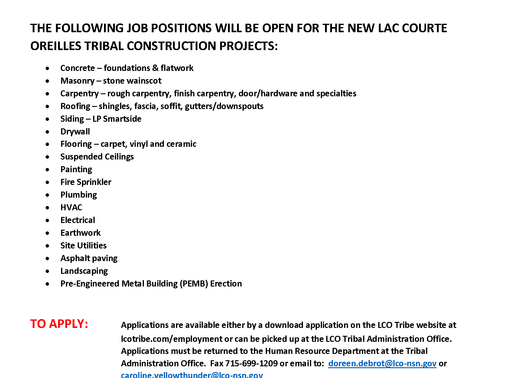 Immediate Need for Workers on 3 CARES Act Construction Projects