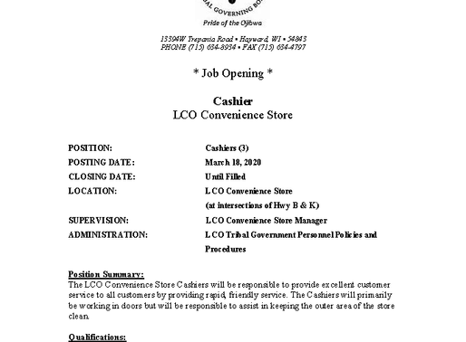 LCO C-Store Dealing with High Volume of Theft and In Need of Cashiers