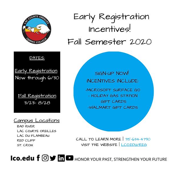 Fall Registration - Early Registration (