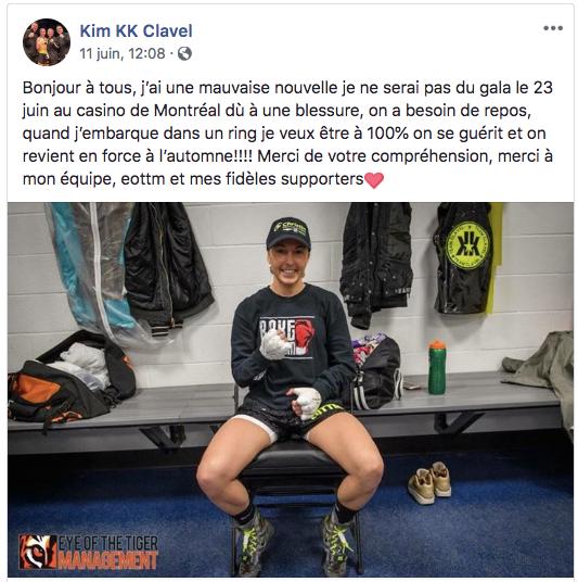 Kim Clavel dans le vestiaire blessée à Montréal