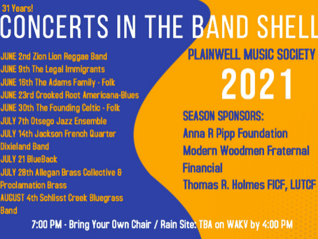 CONCERTS AT THE BAND SHELL RETURN JUNE 2ND!