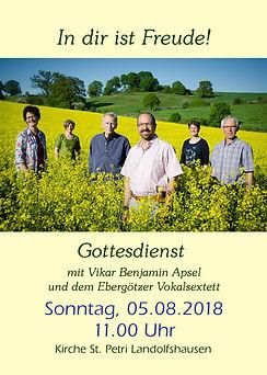 Gottesdienst Landolfshausen ebergötzer Vokalsextett 2018