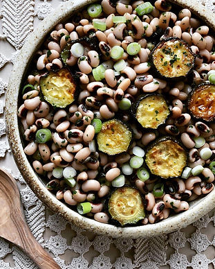 Black eyed pea and roast courgette salad