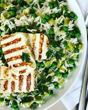 Grilled halloumi on leek & pea rice.jpg