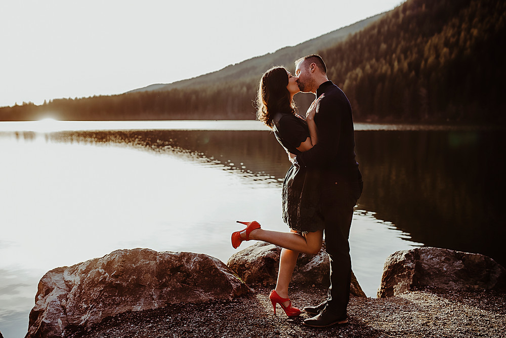 sunset golden hour engagement session pnw