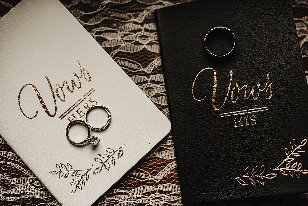 wedding vows, pnw wedding, bride and groom, rings, october wedding, hand written vows