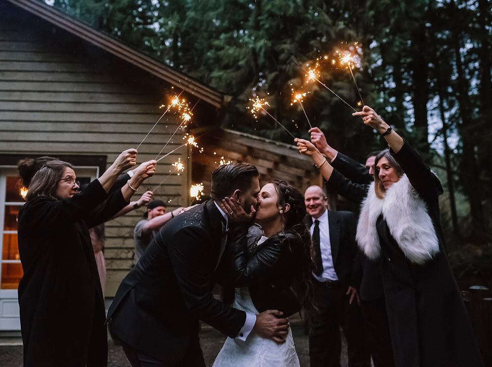 Pacific Northwest forest wedding sparkler exit