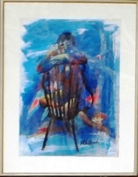 Nude on a Chair  55cmx39cm + mat & frame 70cmx55cm Mixed media