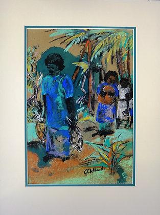 Going Home -Fiji  Mixed media  38cmx26cm + mat & frame