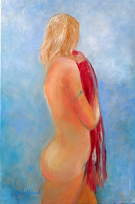 The Red Shawl  Acrylic on stretched canvas 60cmx40cm