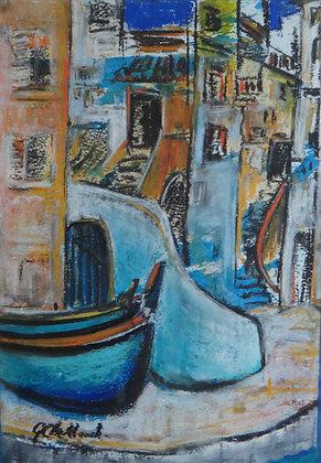 Boats on the Quay - Procida Mixed media  31cmx21cm