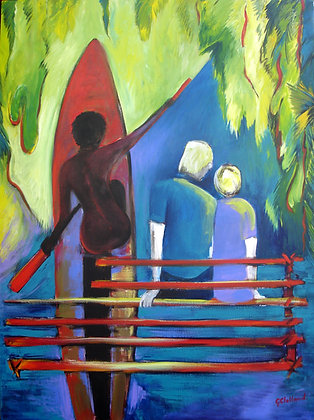 Visiting a Village PNG   Acrylic on stretched canvas 102cmx76cm