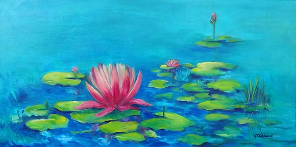 Blooming Waterlilies  SOLD  45cmx90cm  Oil on stretched canvas