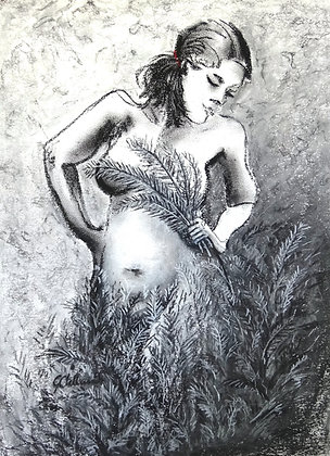 EXTRA SPECIAL Nymph in my Garden   charcoal sealed on 220gsm paper 57cmx40c