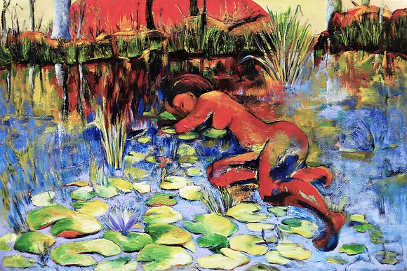 Lillypad Dreams  oil on stretched canvas 100cmx150cm ready to hang