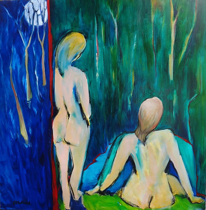 Moonlit Swim  90cmx90cm oil on stretched canvas