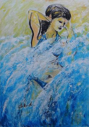 Surfer Girl - Mixed Media 75cmx50cm