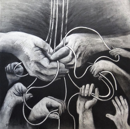 Grasp the Threads that Connect Us   71cmx71cm charcoal on canvas