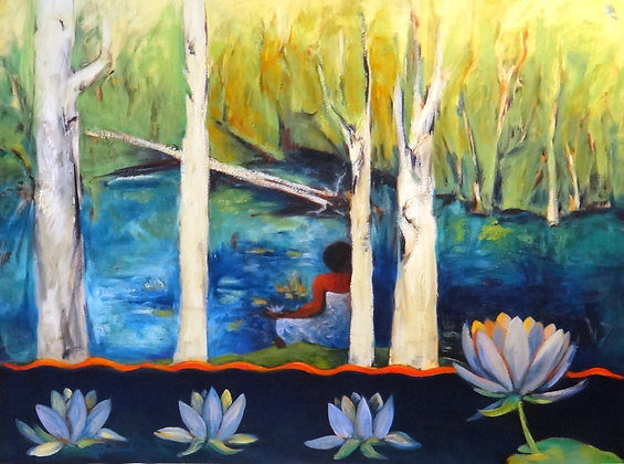 Meditation Pond  SOLD 76x102cm oil on canvas
