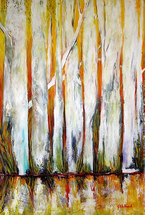 Tall Trees on the Edge  SOLD  91cmx61cm  acrylic on stretched canvas
