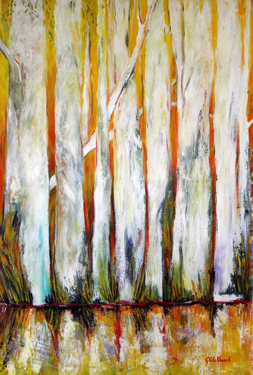 Tall Trees on the Edge 91cmx61cm acrylic on stretched canvas