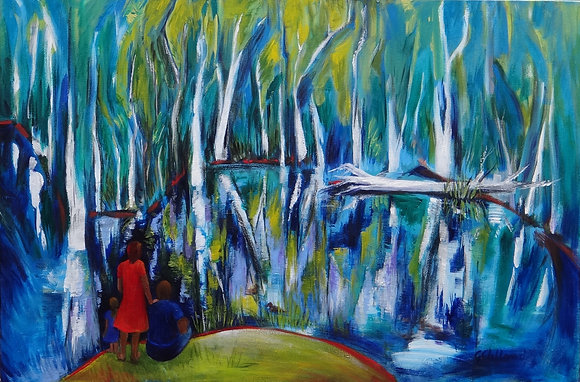 Family at the Lake   91cmx61cm Acrylic on stretched canvas SOLD