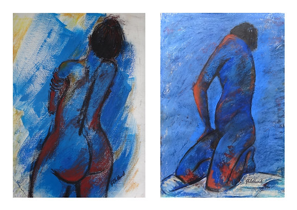 His & Hers  2 mixed media drawings each 60cmx40cm frame together or seperate