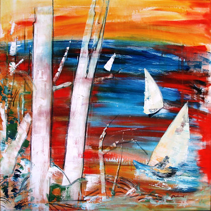 SOLD  Sunset Sailing oil on canvas 90cmx90cm