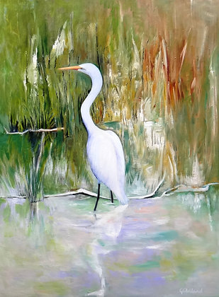 Great White Egret 102x76cm oil on stretched canvas SOLD