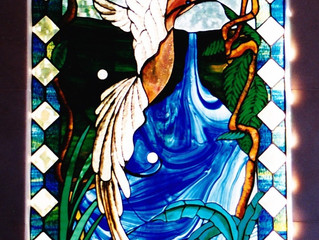 I designed this stained glass window for a house we sold in 1996 - new owners renovated & remove