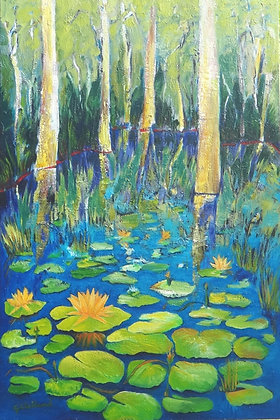 Blooms on my Lake  SOLD  91cmx61cm oil on stretched canvas