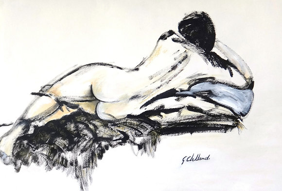 Resting 60x90cm   SOLD  mixed media on paper