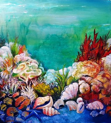 Reef Memories SOLD  oil on canvas 91cm x102cm